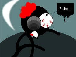 brain eating stickman in a zombie way